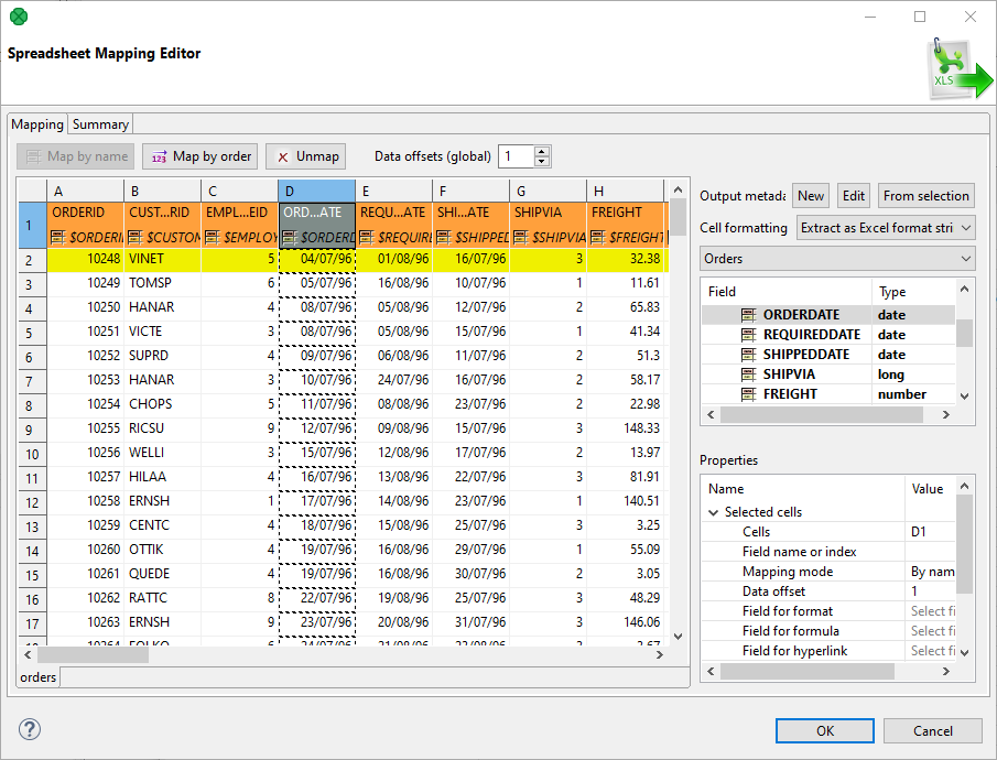 SpreadsheetDataReader - Data mapping document examples