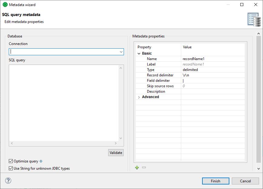 SQL Query Metadata | CloverDX 5 3 0 Documentation